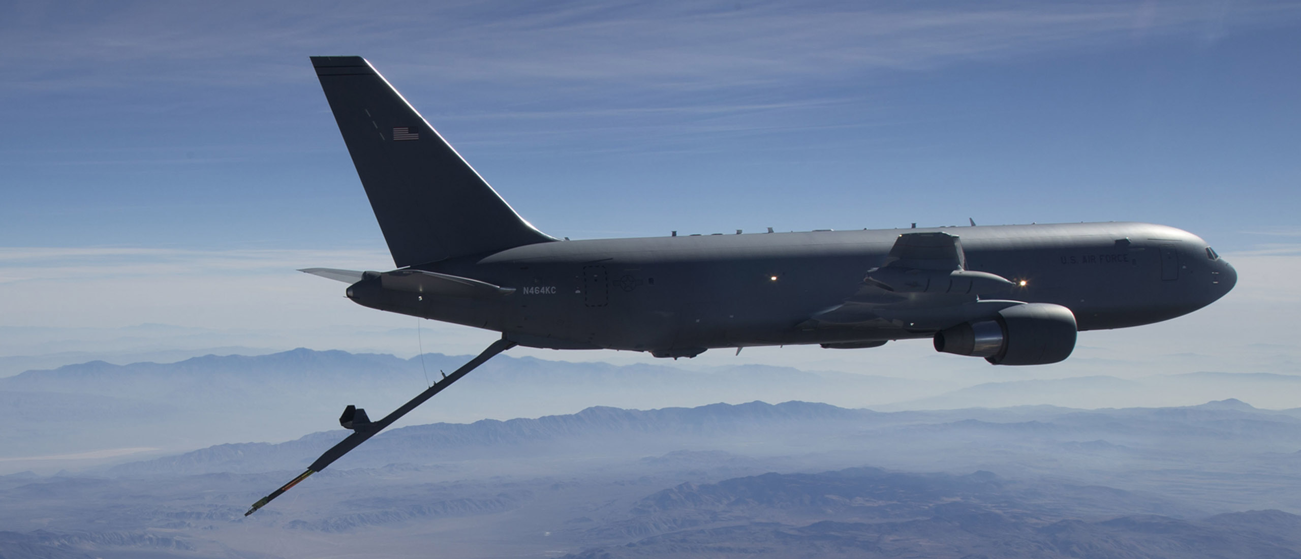 A KC-46A Pegasus aerial refueling aircraft connects with an F-15 Strike Eagle test aircraft from Eglin Air Force Base, Florida, on Oct. 29th, 2018.  The 418th Flight Test Squadron is conducting refueling tests with the fighter at Edwards Air Force Base, California.  Although Edwards has almost every aircraft in the Air Force's inventory for flight testing and system upgrades, the base does not have F-15s, so the 40th Flight Test Squadron from Eglin is assisting with the KC-46A refueling tests.  The KC-46A Pegasus is intended to start replacing the Air Force's aging tanker fleet, which has been refueling aircraft for more than 50 years.  With more refueling capacity and enhanced capabilities, improved efficiency and increased capabilities for cargo and aeromedical evacuation, the KC-46A will provide aerial refueling support to the Air Force, Navy, Marine Corps, and allied nation aircraft. (U.S. Air Force photo by Master Sgt Michael Jackson).