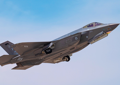 An F-35A Lightning II fighter jet, assigned to the 134th Fighter Squadron, Vermont Air National Guard, takes-off for a Red Flag 21-3 mission at Nellis Air Force Base, Nevada, July 23, 2021. Red Flag takes place over the Nevada Test and Training Range and provides the warfighter a flexible, realistic and multi-dimensional battle space to conduct advanced training of U.S. military services and coalition forces throughout the year. (U.S. Air Force photo by William R. Lewis)